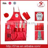 HEINZ kitchen apron set with front pockets, oven mitt and heat-proof mat