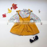 Organic Suspender Skirt Children Clothes Floral Top Set Blank Wholesale Children Clothing