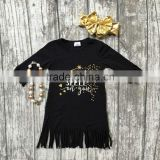 baby girls spring Fall dress dress girls I put a spell on you tassel dress baby children black tassel dress with accessories
