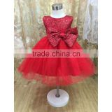 Beautiful red shinning sequin christmas prom dress for 3 years old girl, big bowknot decoration lovely dress