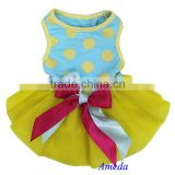 Yellow Tutu Blue Polka Dots Pink Ribbon Party Dress Pet Dog Cat Clothes XS S M L