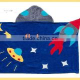 Fun Hooded Towel Space Hero Rocket Ship Galaxy Embroidery UFO Party Cotton Towel Boy Girl Toddler Towel Boy Girl Toddler Towel B