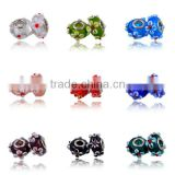 Murano Glass Beads/Lampwork Bead Fit European Alloy Bracelet,Red Murano Glass Bead Silver Tube Fit Charm Bracelets