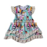 2016 latest feather children Frocks Designs Children cotton Clothes Fancy casual kids summer blue dress For Kids