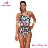 Factory Wholesale Plus Size Flag Print Sexy Onepiece Swimsuit Women