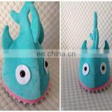 Shark hat plush toy cap on head kids fun game toy