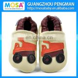 Newborn To Toddler Boy Beige Truck Leather Shoes Size 0-4 Years