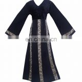 Black Color Velvet Burkha With Printed Satin / Islamic Style Daily Wear Beautiful Burqa For Indian Women (dubai abaya 2017)