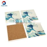 High Quality Square Ceramic Coaster with Cork Back Water Absorbing Coaster