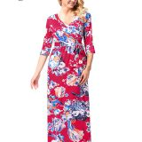 1/2 Sleeve Floral V-neck Wrap Maxi Long Dress