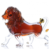 Animal Shaped Lion Shape Wine Handmade Glass BottleHand Blown Borosilicate Lion Shaped Glass Wine Bottles Wholesale