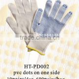 safety working gloves/ pvc dotted cotton glove/ pvc dotted gloves machining in China low price/ cotton glove