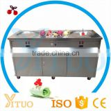 New Arrival Fried Ice Cream Machine Double Pan R404a Refrigerant 500mm/700mm Double Flat Pan Fried Ice Cream Machine