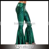 Bell Bottom Green Mermaid Scale Leggings With High Waist