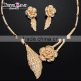 Banquet Party Fine Quality Flower and Leaf Design Fashion Zircon Crystal Jewelry Set