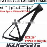 High Quality Chinese Cheap 26ER Carbon Fat Bike Snow Bicycle Frame Bicycle Parts Carbon Fat Bike Frame