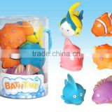 hot sale squirt baby bath toys, mixed sort pvc shower toys, oem bathtoys for kids and babies