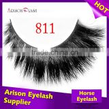 2016 hot sale private label 3D Premium real mink fur strip lashes, false horse eyelashes,