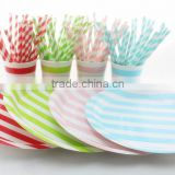 BBQ Buffet Picnic Party Wedding Decorative Colorful Striped Disposable Paper Tableware Sets
