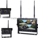 100% Factory Digital Wireless Reversing Type 4 Channel Wireless Reverse 2 Camera with 7'' Quad Monitor
