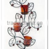 LC-76388 Antique Metal Iron Wall Decorative 3 Cups Tealight Candle Holder
