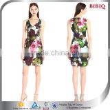 latest trendy charming women dress floral print chiffon v-neck sleeveless bodycon above knee short casual dress                                                                         Quality Choice