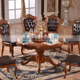 Dining room antique round rotating table with leather chairs