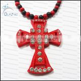Hot!High quality black Cross wood pendant necklace