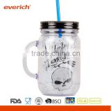 20oz Wholesale BPA Free Personalized Double Wall AS Plastic Mason Jar with Straw and Plastic Handle                                                                         Quality Choice