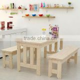 Modern solid wood table solid wood bench kitchen table and chair set