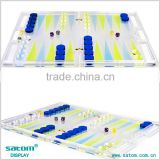"LUCITE CHESS&BACKGAMMON SET, Traditional Strategy Board Games 12"" Wide Or 30 cm                                                                         Quality Choice"
