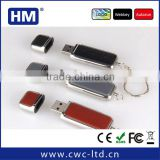 OEM leather usb stick with steel edge pendrive