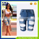 The new European and American popular personality hole Slim stretch denim pants Women shorts