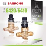 Sanrong 6420 Welded Brass Capped Valve for Refrigeration, 6410 Manual Threaded Shut-off Valve, Air Conditioner Shut Off Valve