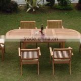 Luxurious Teak Oval Extending Table and 6 Stacking Chairs Garden Outdoor Furniture
