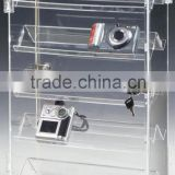 clear 5 tiers rotating acrylic camera showcase,acrylic camera rack,acrylic camera display with lock