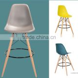 Commercial Furniture Bistro Bar Furniture Plastic Seat Wooden Base Bar Stool Chair