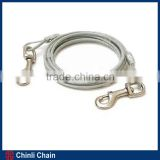 Dog Steel Wire Rope Chain Leash,Plastic coated,galvanized steel aircraft cable,Iron snap on both ends