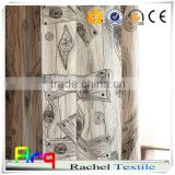 latest creative design linen/ cotton or polyester eco friendly waterproof fabric natural straw fabric wood deisgn fabric
