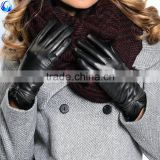 2016 daily life ladies fashion wool lined sheepskin leather dress gloves for touch screen