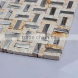 LJ JY-Mx-SM06 Beige Strip Stone Mosaics Mix Stainless Steel Mosaic Tile for Fireplace Backsplash