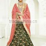 Impeccable Black Brocade Lehenga Choli/online wedding lehenga choli shopping