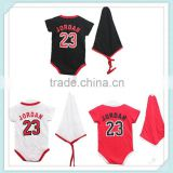 Summer Style Newborn/Infant/Toddler Short Sleeve Bodysuits+Hat Black/White/Red Baby Boy Jordan Para 0-24M Roupa
