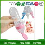 90ml Liquid Food Dispensing Silicone Baby Feeding Squeeze Spoon / Infant Feeder Spoon With Measure Bottle