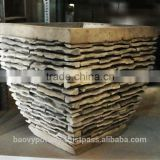 Light Concrete Pot with Stone Effect, Set of 3.