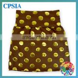 Hot Cheap Beautiful Kids Short Skirts,Gold Dots Children Coffee Color Skirts,Baby Girls Mini Skirt For Party