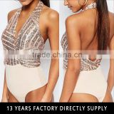 Wholesale gold sequin fabric halter backless sexy open dance bodysuit