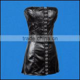 Black Faux Leather Sexy Gothic Corset Dress Front Hasp Strapless Sheath Dresses PVC Club Dress Erotic Women Fashion Dancewear