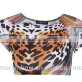 2014 hot sale 3D Print all over body sublimation animal printing ladies plain crop top T-shirt for women wholesale cheap