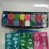Professional 12 Colors+2 Glitters Face Paint Kit with Stencils Water-Based Face Painting Palette